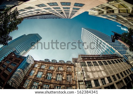 Skyscrapers of Frankfurt am Main, Germany - stock photo
