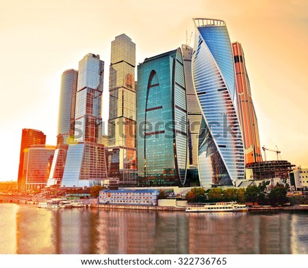 Skyscrapers of Moscow City at evening. Moscow International Business Center - commercial district, Russia - stock photo