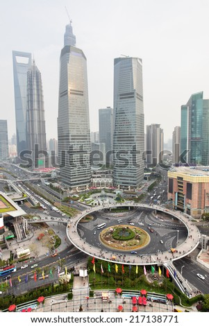 Skyscrapers of Pudong, Shanghai, China - stock photo
