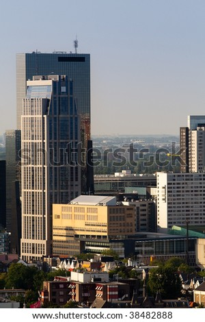 Skyscrapers of Rotterdam. Zoomed view from the Euromast - stock photo