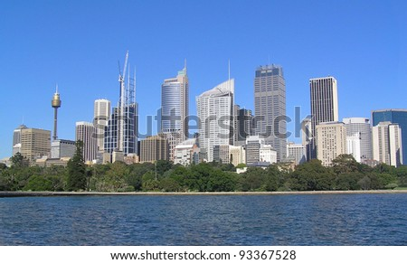 Skyscrapers of Sydney. Clear blue sky. - stock photo