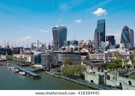 Skyscrapers of the City of London over the Thames