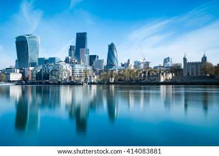 Skyscrapers of the City of London over the Thames , England - stock photo