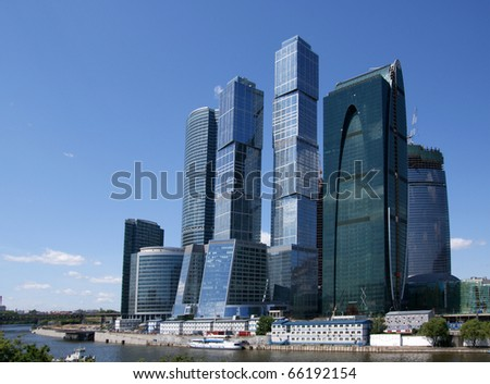 Skyscrapers of the International Business Center (City), Moscow, Russia - stock photo