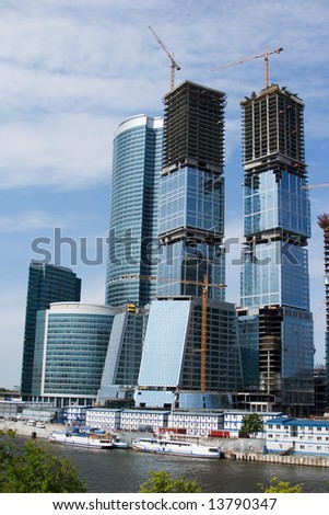 Skyscrapers of the Moscow City complex in construction phase
