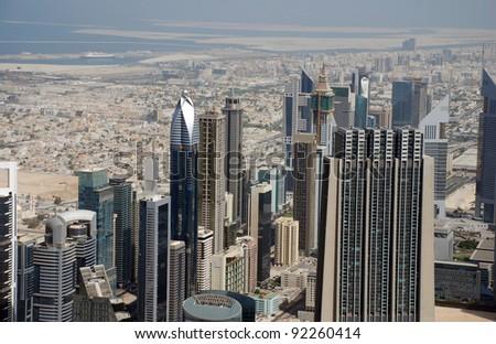 Skyscrapers on the Sheik Zayed road in Dubai (UAE) - stock photo