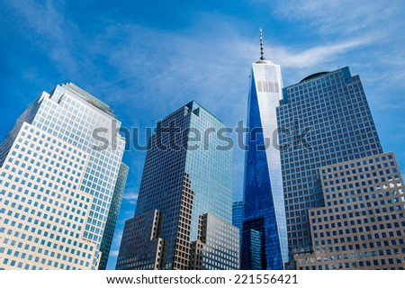 Skyscrapers rising up to sky on Lower Manhattan, including the Freedom Tower - stock photo