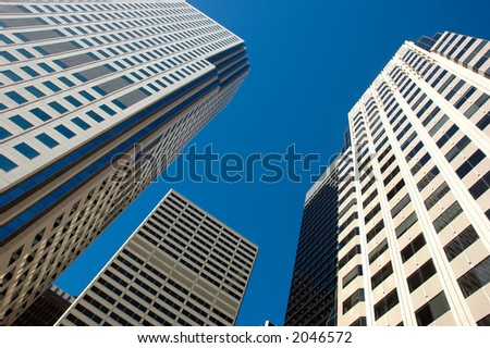 Skyscrapers set against the blue sky