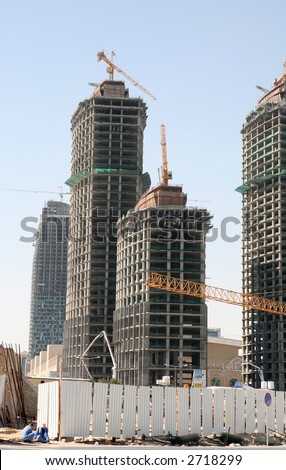 Skyscrapers under construction in the New District of Doha, Qatar.