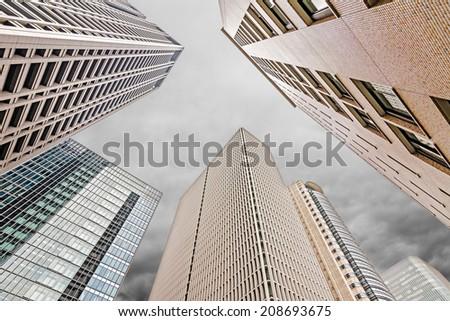 Skyscrapers under sky, city scenery of Osaka, Japan , Asia. - stock photo