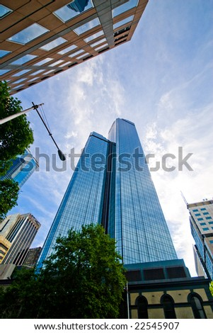 skyscrapers under sky in Melbourne Australia - stock photo