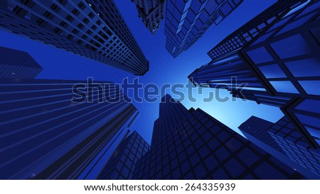 Skyscrapers, view from below in the night. - stock photo