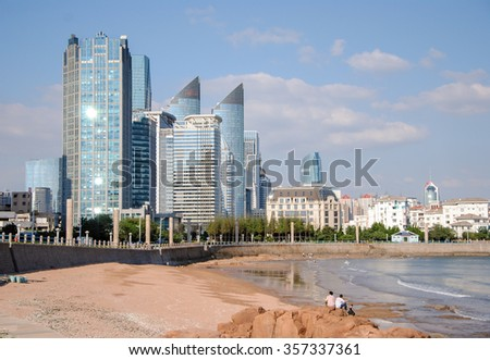 skyscrapers view from No. 5 Bathing Beach Qingdao, Shandong province, China