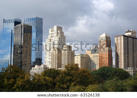 Skyscrapers viewed from Central Park in New york City.