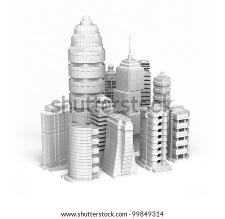 Skyscrapers white ctiy , isolated