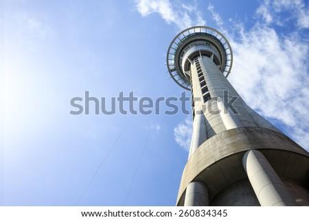 Skytower, the famous landmark of Auckland, New Zealand - stock photo