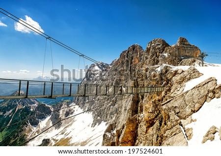 Skywalk in Dachstein Glacier in Austria - stock photo