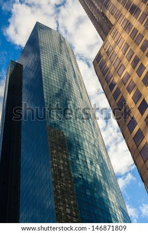 Skyward view of downtown skyscrapers. - stock photo