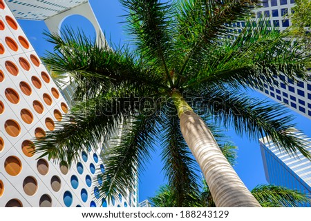 Skyward view of the Brickell area in downtown Miami. - stock photo