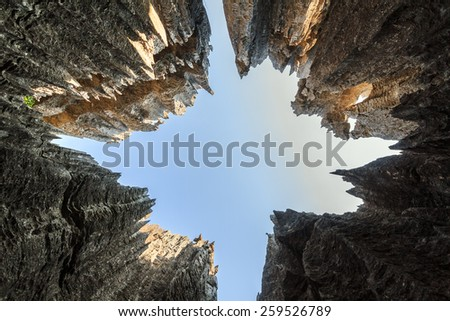 Skyward view on the unique limestone landscape at the Tsingy de Bemaraha Strict Nature Reserve in Madagascar - stock photo
