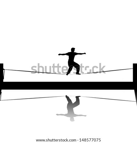 slackline silhouette  - stock photo