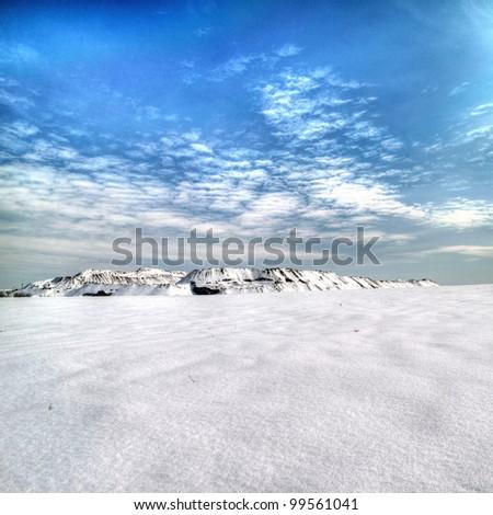 Slagheap winter in the snow. Donetsk. Ukraine - stock photo