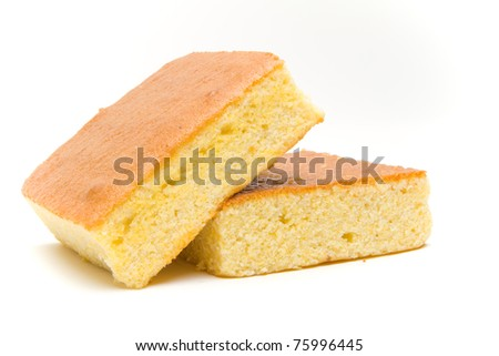 Slanted stacked corn bread slices