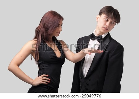 Slap in the face. Quarreling man and woman. - stock photo