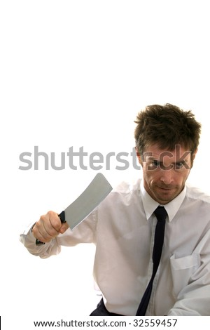 Slashing through business man with meat cleaver - stock photo