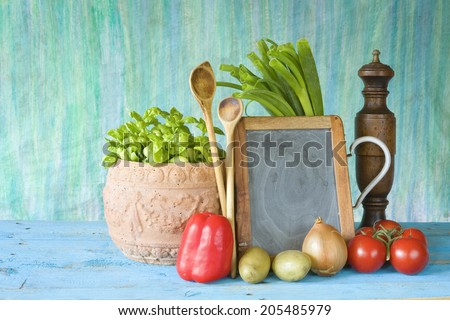slate for cooking recipes, kitchen utensils, food ingredients, free copy space, cooking concept  - stock photo
