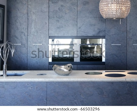 slate stone kitchen furniture marble bench integrated vitroceramic stove - stock photo