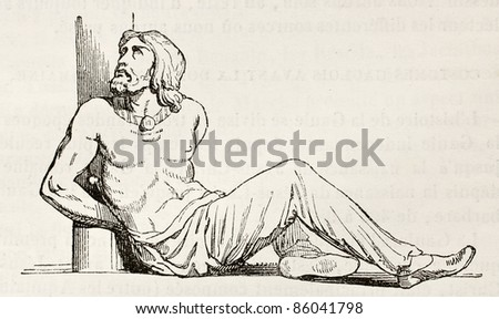 Slave old illustration. By unidentified author, published on Magasin Pittoresque, Paris, 1842 - stock photo