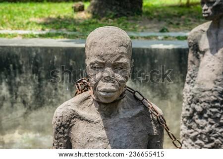 Slavery Memorial in Stone Town, Zanzibar, Tanzania. Slave auction was held near this location for many years. - stock photo