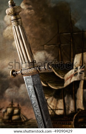 Slavic Dagger. A closeup view of the handle and the blade design of a Slavic Dagger from 19th century. - stock photo
