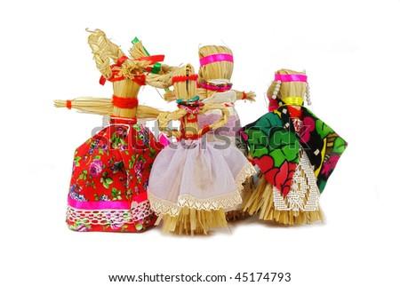 Slavic holiday carnival handmade dolls - stock photo
