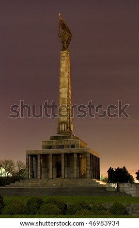 Slavin memorial to Red army soldiers and military cemetery in Bratislava, Slovakia - stock photo