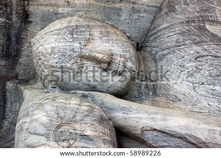 Sleaping Buddha with pillow in Polonnaruva, Sri Lanka - stock photo
