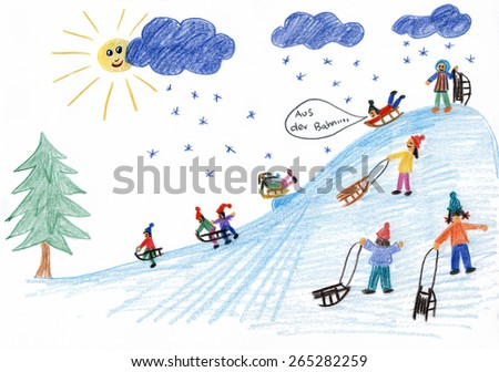 sledding kids on the hill in winter - children drawing - stock photo
