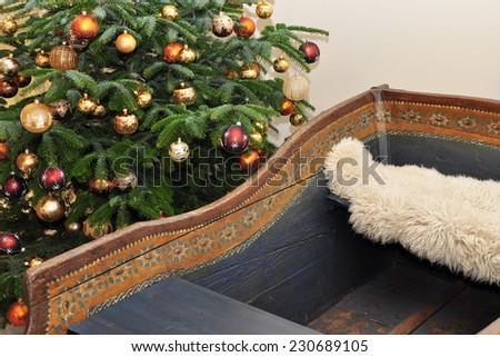 sledge and tree - stock photo