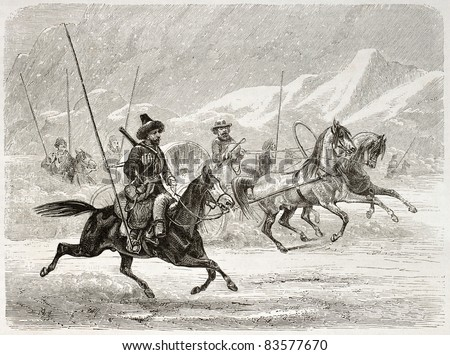 Sledge in Siberia, old illustration. Created by Adam after Sarytchew, published on Le Tour du Monde, Paris, 1860 - stock photo
