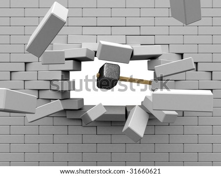 Sledgehammer hit the brick wall. - stock photo