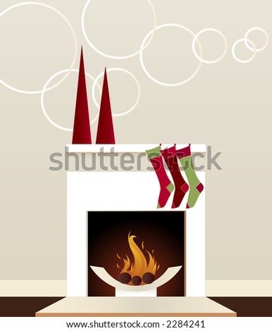 Sleek, modern fireplace decorated for the holidays with stockings and christmas trees - stock photo