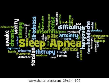 Sleep Apnea, word cloud concept on black background. - stock photo