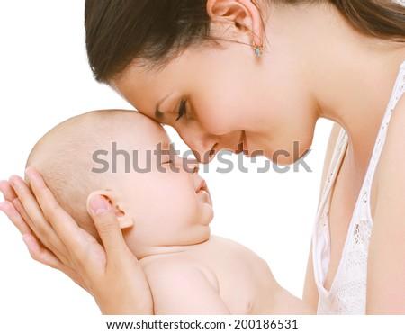 Sleep baby, tender mom - stock photo
