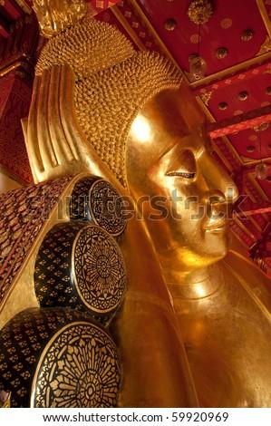 Sleep Buddha at Pamok worawihan temple, Angthong, Thailand - stock photo