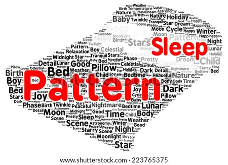 Sleep pattern word cloud shape concept - stock photo