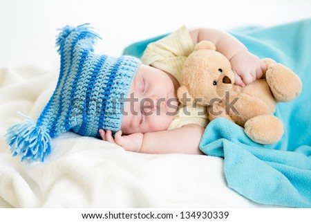 sleeping baby boy - stock photo