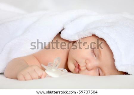 Sleeping baby girl - stock photo