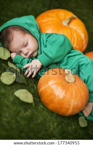 sleeping baby in a pumpkin.Shallow focus.  - stock photo