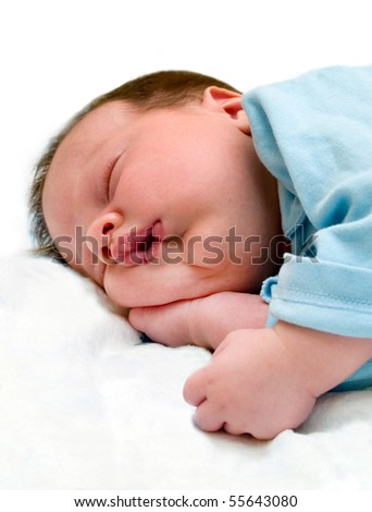 sleeping baby isolated on white - stock photo